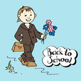 Schoolboy with flowers and schoolbag Royalty Free Stock Images
