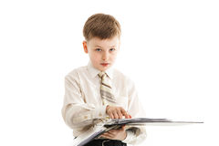 Schoolboy with a folder isolated Stock Images