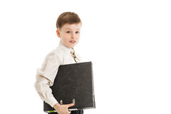 Schoolboy with a folder isolated Royalty Free Stock Photos