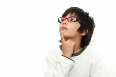 The schoolboy in glasses Stock Photo