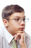 Schoolboy in glasses Royalty Free Stock Images