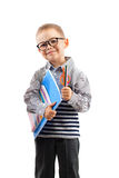 Schoolboy in glasses holding book Stock Photography