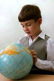 Schoolboy and globe. Canon 20D. Portrait of the schoolboy with the globe Royalty Free Stock Image