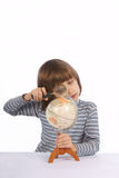 Schoolboy with  globe Stock Photography