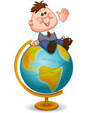 Schoolboy on  globe. Back to school. geography lesson. school child turns on the globe. Vector illustration Stock Photography