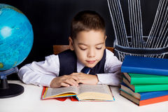 Schoolboy with a globe Royalty Free Stock Photo