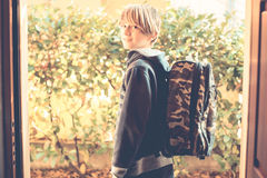 Schoolboy go to school. An ordinary day - schoolboy go to school royalty free stock photos