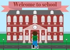 Schoolboy go to school. Vector illustration. Stock Photo