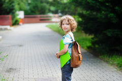 Schoolboy goes to school with a satchel behind shoulders. Stock Photography