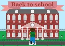 Schoolboy goes to school. Vector illustration. Stock Photos