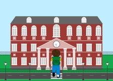 Schoolboy goes to school. Vector illustration Royalty Free Stock Image