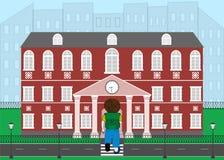 Schoolboy goes to school. Vector illustration. Stock Photo