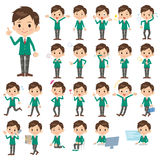 Schoolboy Green Blazer. Set of various poses of schoolboy Green Blazer Royalty Free Stock Photo