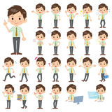Schoolboy Green shortsleeved shirt. Set of various poses of schoolboy Green shortsleeved shirt Royalty Free Stock Image