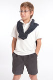 Schoolboy with hands in pockets Royalty Free Stock Images
