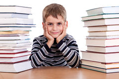 Schoolboy and a heap of books Royalty Free Stock Photo