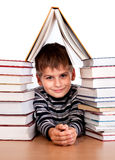 Schoolboy and a heap of books Royalty Free Stock Photos