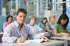 Schoolboy in high school class Royalty Free Stock Image