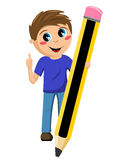 Schoolboy holding big pencil thumb up isolated Royalty Free Stock Photo