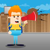 Schoolboy holding and speaking with a megaphone. royalty free illustration