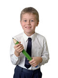 Schoolboy holding pencil Royalty Free Stock Photography