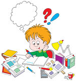 Schoolboy with homework. Vector clip-art / funny character for your design Royalty Free Stock Photo