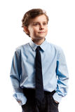 Schoolboy isolated on white. Portrait of a schoolboy isolated on white Royalty Free Stock Photo