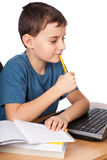 Schoolboy at the laptop Royalty Free Stock Image