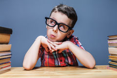 Schoolboy learns homework, education concept Stock Photo