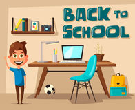 Schoolboy Learns Lessons At Home. Cartoon Vector Illustration Royalty Free Stock Photos