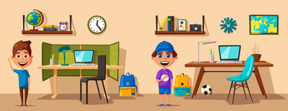 Schoolboy learns lessons at home. Cartoon vector illustration Royalty Free Stock Images