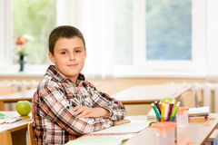 Schoolboy during lesson in classroom at school Stock Image