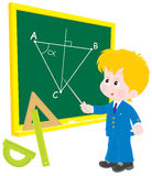 Schoolboy at lesson Geometry. Vector illustration of a school student standing at the blackboard in class Geometry Stock Image