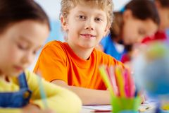 Schoolboy at lesson Royalty Free Stock Photos