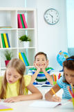 Schoolboy at lesson royalty free stock images