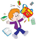 Schoolboy after lessons. Vector clip-art / funny character for your design Royalty Free Stock Photography