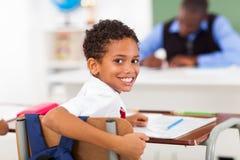 Schoolboy looking back stock image