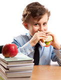 Schoolboy during lunch break Stock Photography