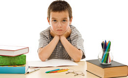 Schoolboy make grimace. During the preparation for school Royalty Free Stock Photography