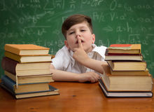 Schoolboy making with finger sign silence Royalty Free Stock Photo
