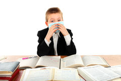 Schoolboy in mask Royalty Free Stock Photography