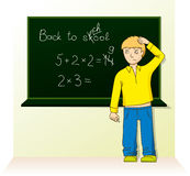 Schoolboy near the board Royalty Free Stock Images
