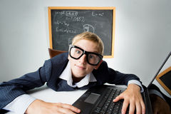 Schoolboy with notebook Royalty Free Stock Photo