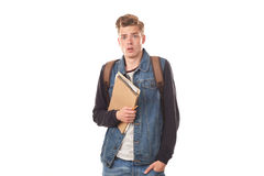 Schoolboy with notepads Royalty Free Stock Images
