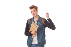 Schoolboy with notepads Stock Photos