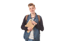 Schoolboy with notepads Stock Image
