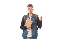 Schoolboy with notepads Royalty Free Stock Photo