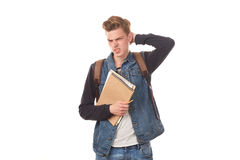 Schoolboy with notepads Stock Images