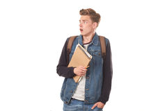 Schoolboy with notepads Stock Photography