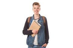 Schoolboy with notepads Stock Photo